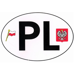 "Large waterproof indoor/outdoor sticker perfect for a heritage room display or on a car,  truck or van. PL are the designated letters for Poland in Europe. This sticker also features the flag and emblem of Poland. Size is approx 6"" x 4""."