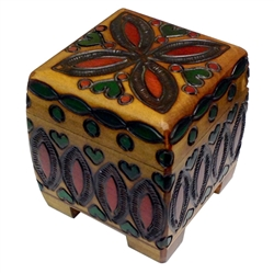 Carved Footed Folk Box - It has the old fashioned method using a peg to secure when closed, a method not often seen today.  This carved footed folk box has the design on all four sides and also on the top!