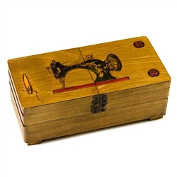 Sewing Box. An old fashioned sewing machine, needle and buttons have been burned into the lid of this box, great for storing thread, needles, bobbins, buttons or other sewing accessories!