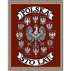 The emblem of Poland, the Polish Eagle (Polski Orzel) has evolved over the centuries. This beautiful woven tapestry highlights twelve of those eagles beginning with the year 1268.  In the center is the present day design.