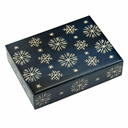 Rich blue matte finish. Hand carved snowflake design on top and sides. Hinge and lid.