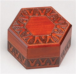 Rich lacquered box with hand carved tulip design on top and sides. Unique shape.