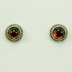 Amber Studs with Silver Roping