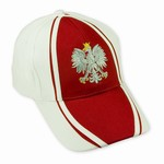Embroidered Silver Polish Eagle Cap, The front of the cap features and embroidered Polish Eagle made of silver thread with a crown and talons of gold colored thread.  Features an adjustable cloth and velcro tab in the back.  Designed to fit most people.