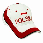 "Embroidered Polish Flag Cap Display the Polish colors of red and white with this handsome looking cap with detailed embroidery work.   The front of the cap features an embroidered Polish Flag and the word ""Polska"" and embroidered ""Poland"" on the back."