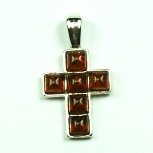 Genuine Green Baltic Amber Cross Pendant