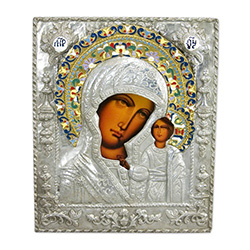 "Hand Made 10"" by 12"" Historical Reproduction Zinc Plated Copper Cover. Icon of Our Lady Of Kazan, the most important icon in Russia.  Ours is produced in Lodz, Poland."