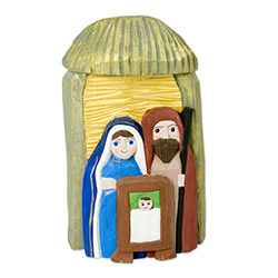 The Holy Family and in particular the Nativity is a popular theme in Polish folk art. Jerzy and Maria Kopczynscy are a folk artist family of unique talents. Jerzy is the carver and Maria is the painter.