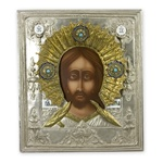 "Made in Poland this icon is hand painted and covered with a beautiful cover of zinc plated copper featuring fine bas-relief. Size 11"" x 12.75"" - 28cm x 32cm"