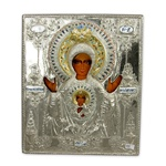 Made in Poland this icon is hand painted and covered with a beautiful cover of zinc plated c opper featuring fine bas-relief.