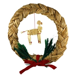 This beautifully hand plaited straw wreath is a beautiful example of the craftsmanship of the Lublin area of Eastern Poland.  A lamb is displayed prominently in the center of the wreath.  All hand made.
