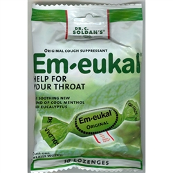 Em-eukal -- this is the one your throat has been waiting for!  The #1 brand in Germany's pharmacies and drugstores is now available in the United States.  Dr. Carl Soldan formulated his original recipe in 1923 to relieve coughs, soothe sore throats