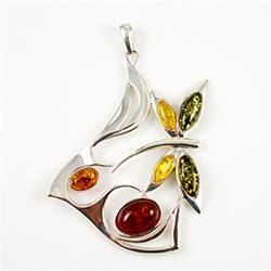 XLarge Multicolor Amber Butterfly Pendant
