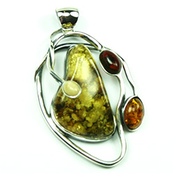 Unique Multi Color Large Amber Pendant w/Silver