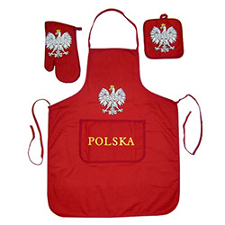 Everything for the Polish chef in a Polish kitchen - Apron, oven mitt and pot holder with Polish eagle motif on each item.  Great for that summer barbeque.