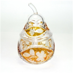 "Amber colored cased crystal is a Polish specialty.  Hand blown, cut and polished from the ""Julia"" factory in Poland"