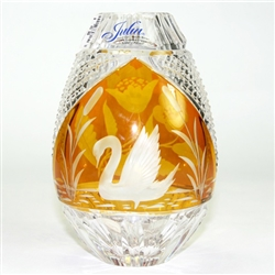 "Amber colored cased crystal is a Polish specialty.  Hand blown, cut and polished from the ""Julia"" factory in Poland