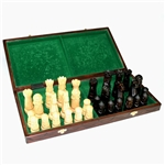 Beautiful hand crafted large wooden chess set. Wood burned board. Pieces have felt bottoms. Box coloration can vary from light to dark brown. We have one in stock now and the box is a medium brown.