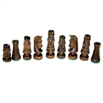 Beautiful hand crafted extra large wooden chess set. Pieces have felt bottoms.