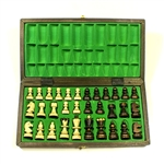 Beautiful hand crafted wooden chess set. Pieces have felt bottoms.