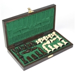 "Beautiful hand crafted wooden chess set. Pieces have felt bottoms. Box size closed is approx 10.5"" x 5.25"" x .6""."