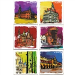 Miasta Polskie (Polish Cities) Coasters - Set of 6 Assorted. This set of 6 coasters features colorful reproductions of scenes from important Polish cities painted by Anna Gawlikowska.
