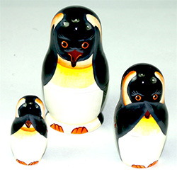 One of our favorite animals, the emperor penguin, wants you to hear no evil, speak no evil, see no evil. An adorable reminder that clean living is the best kind. Production Techniques: Hand Painting. This doll was carved in the Upper Volga region, then de
