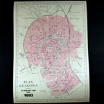 1893 Historical Plan Of The City Of Krakow - Plan  Krakowa
