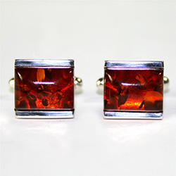 Men's Amber Cuff Links - Rectangle Honey Stone