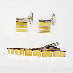 Men's Amber Cuff Links and Tie Bar Set - Milky Amber