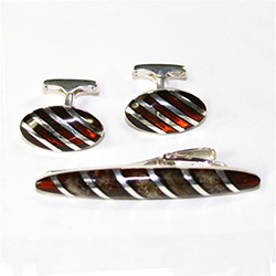 Men's Amber Cuff Links and Tie Bar Set - Cherry Amber