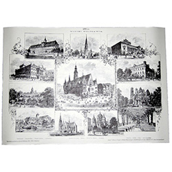 Beautiful poster containing twelve historic views of architecture in the city of Wroclaw, Poland, circa 1883.  Suitable for framing.