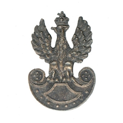 Replica of the insignia worn by the Polish Legion in 1918 under Jozef Pilsudski.  Crowned Polish eagle with a shield in the center of an Amazon shield.
