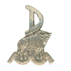 Reproduction of a military pin from the Warsaw Uprising representing one of the fighting groups in the Polish Home Army based in the district of Zoliborz.  The Bison is standing in front of the symbol for the Warsaw Uprising - PW - Powstanie Warszawskie.