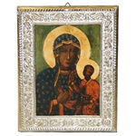 Made in Poland this icon has a *printed image* and is covered with a beautiful cover of zinc plate over copper. featuring fine bas-relief.