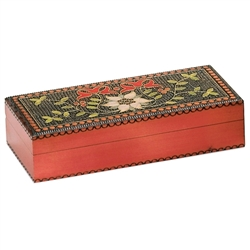 This beautiful box is made of seasoned Linden wood, from the Tatra Mountain region of Poland.  It features a beautiful floral motif on the top, with a removable storage tray in the interior.