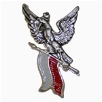 Beautiful lapel pin from the workshop of our favorite Warsaw engraver.  Silvered with red and white enamel.