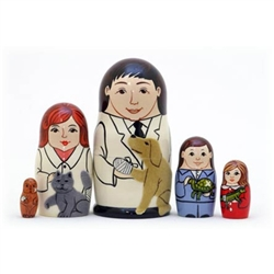 "A unique occupational set of nesting dolls - ""The Veterinarian"".  Male and female vet dolls each holding a fuzzy dog and cat! They are delightful to touch.  Inside are pet owners holding a turtle and lizard and lastly a small dog. Largest is 5"" tall."