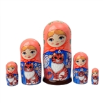 Maiden with Tabby Cat Matrushka Nesting Doll Set of 5
