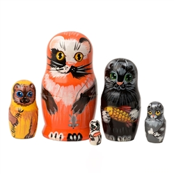 These alley cats are looking for a cat lover to invite them home. Five different cats are portrayed, each bearing a souvenir from his back street hunting expedition. The largest, a calico, dangles a mouse from his paw. A whimsical gift for your favorite a