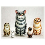 Grey Tabby Cat Matrushka Nesting Doll Set of 5