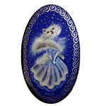 Beautiful handmade Russian lacquerware brooch with a handpainted white cat against a dark blue background. Russian lacquerware dates back to Peter the Great and the early 1700s. T