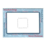 "Polish-English Christmas Greeting card, with a slot to hold a standard 4"" x 6"" (10cm x 15cm) photograph of your choice.  A great way to personalize your Holiday wishes."