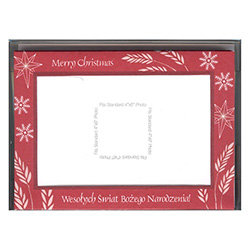 "Set of (10) Polish-English Christmas Greeting cards, each card has a slot to hold a standard 4"" x 6"" (10cm x 15cm) photograph of your choice."