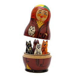 Autumn Whiskers Surprise Nesting Doll Set of 5