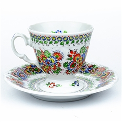 Opole Hand Painted Porcelain Teacup and Saucer #1