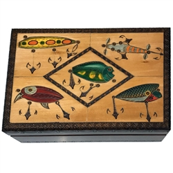 North American Game fish artist Jon Q Wright created this box design featuring numerous authentic antique fishing lures. Brass inlays precisely outline the 6 different lures and all of the hooks. Hand carving and had staining all contribute to the design.