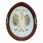 These beautiful wooden eggs are hand painted on one side and feature an applique of the Polish eagle on the other side.
