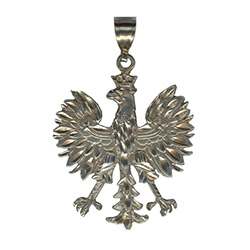Sterling silver Polish eagle. These eagles are made in Hamtramck by a master jeweler. After being removed from the cast they are hand polished and diamond cut which highlights all the details.