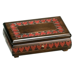 "Wonderful locking wooden box with a beautiful heart motif.  Size approx 11"" x 7"" x 3.75""."